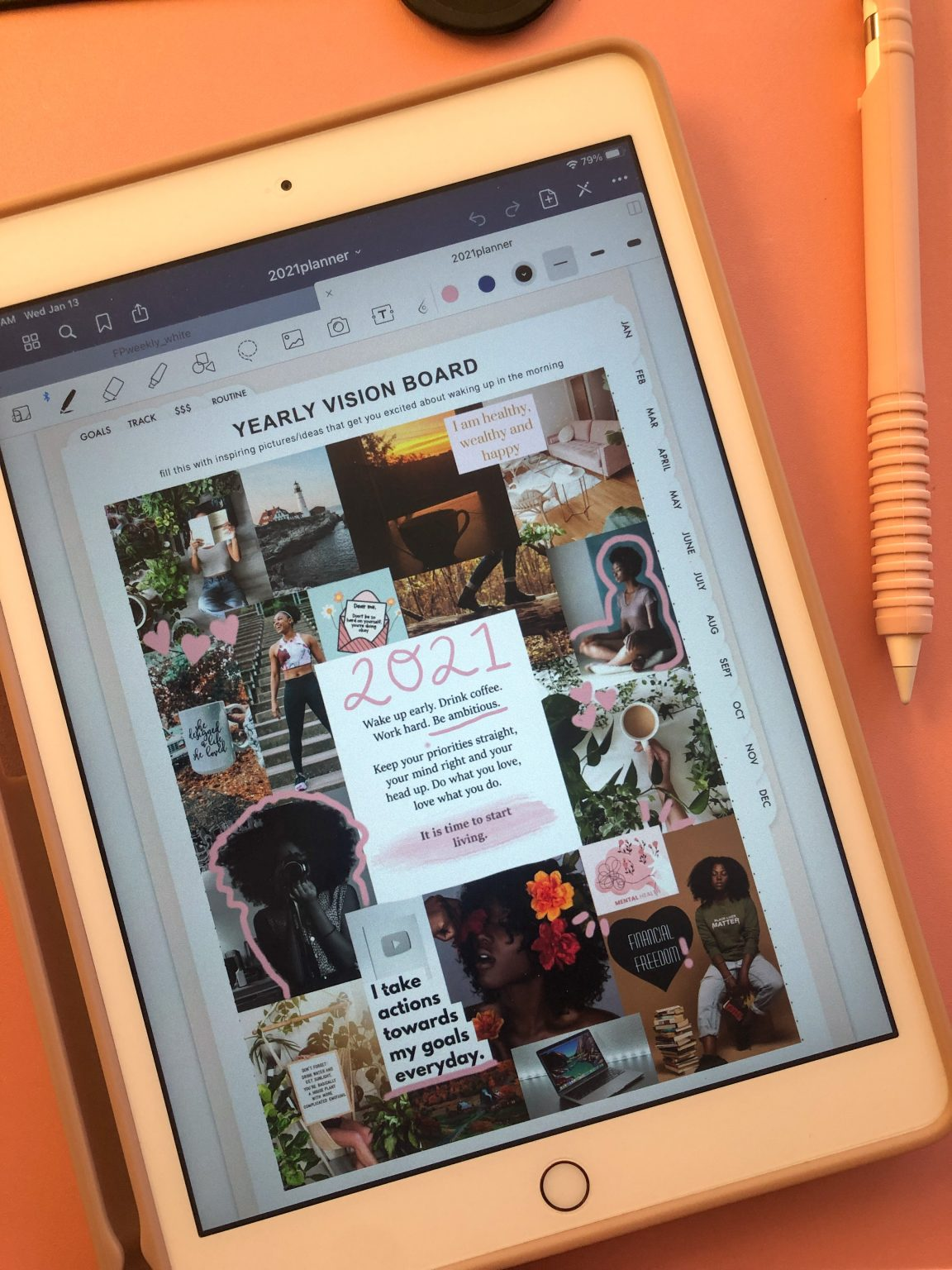 Example of a digital vision board on an iPad from AmbitiouslyCierra
